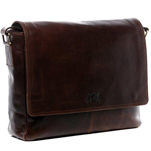 "SID & VAIN Laptoptasche Messenger Bag echt Leder Spencer groß Businesstasche 15\"" Laptop Umhängetasche Laptopfach Ledertasche Herren braun"