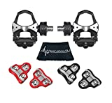 Wearable4U Favero Assioma Duo Pedal Based Cycling Power Meter with Extra Cleats Cleaning Cloth Bundle (Black (0 Degree Float))