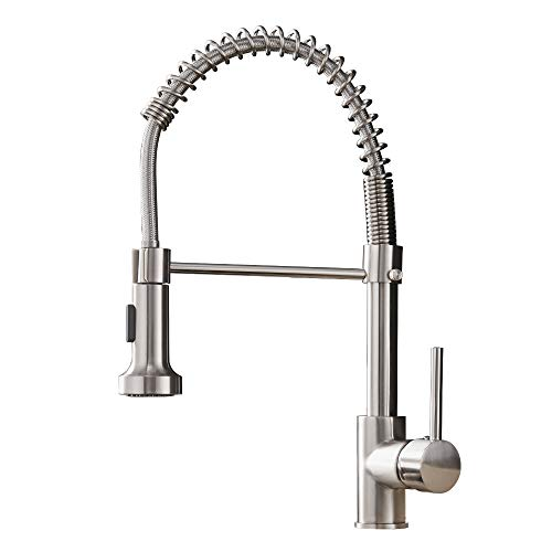 OWOFAN Kitchen Faucets Low Lead Commercial Solid Brass Single Handle Single Lever Pull Down Sprayer Spring Kitchen...