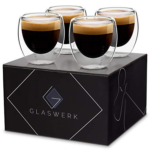 GLASWERK Bicchieri di Design - Bicchieri Termici di Alta Qualità, per Latte Macchiato, Caffé, Espresso, Tè, in Vetro Borosilicato a Doppia Parete, Lavabili in Lavastoviglie, 4 x 70ml