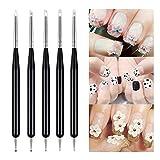 5Pcs Pincel para arte de uñas Nail Art Arte Diseño Dotting Pen Cepillo pinceles para decoración de uñas, acrílico pintura UV GEL 3D...