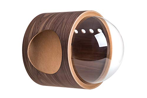 MYZOO Spaceship Gamma, Pet Bed for Cat & Dog, Window Perch, Cat Tree, Made of Wood (Walnut, Open Left)