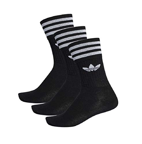Adidas, calzini Solid Crew Socks, confezione da 3 nero/bianco. 39-42