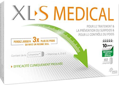XL-S MEDICAL – Comprimés d'Aide à la Perte de Poids, Captent les Graisses Alimentaires – 60 comprimés