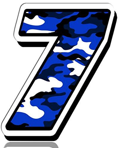 Biomar Labs® Número 7 Camuflaje Militar Azul Vinilo Adhesivo Pegatina Coche Auto Motocross Moto Sport Start Racing Tuning N 217