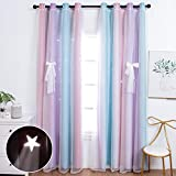 UNISTAR 2 Panels Blackout Stars Curtains for Kids Girls Bedroom Aesthetic Living Room Decor Colorful Double Layer Star Cut Out Stripe Pink Rainbow Window Wall Home Decoration Curtain,W52 x L84 Inches