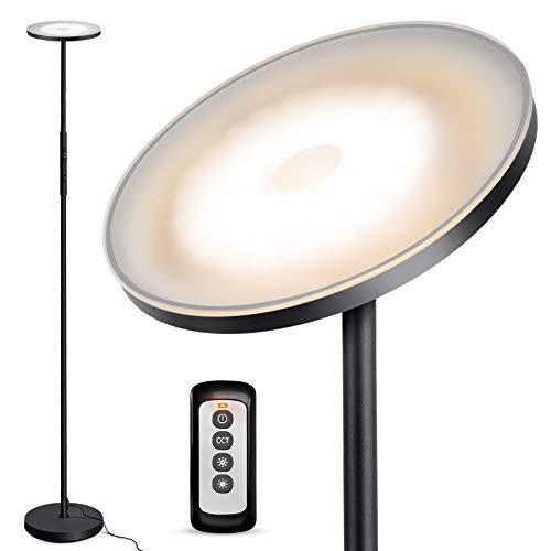 OUTON Stehlampe LED Dimmbar, 30W Moderne Deckenfluter Stehleuchte Stufenlos Dimmbar mit 3 Farbtemperaturen, Fernbedienung&Touch Control, USB-Ladeanschluss für Wohnzimmer Schlafzimmer Büro, Schwarz