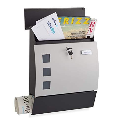 Relaxdays, schwarz-Silber Briefkasten halbrund, mit Schloss, Zeitungsrolle, Design Postkasten, HxBxT: 45 x 35 x 10,5 cm, Standard