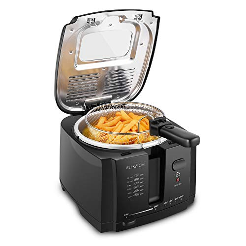 Flexzion Deep Fryer with Basket – Electric Deep Fat Fryer Cooker w/ 2 Liter Oil Capacity, Adjustable Temperature Thermostat, Grease Filter & Removable Basket for Home & Commercial Use