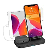 Wireless Charger, 3 in 1 Wireless Charging Station for iPhone Airpods Pro/2 and ipad/iwatch Galaxy Note Buds+, Wireless Charging Stand for iPhone 11/11Pro Max/XS Max/XR/XS/X/8,Galaxy S20/Note 10/S10