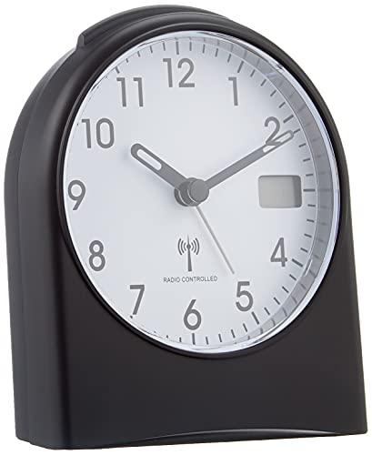 TFA Dostmann Analoger Funk-Wecker, 98.1040.01, mit digitaler Sekundenanzeige, Funkuhr, mit Hintergrundbeleuchtung, schwarz/weiß, Kunststoff, Schwarzweiß, L105 x B64 x H152 mm