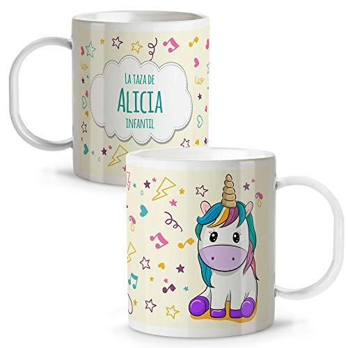 Lolapix Taza Unicornio Infantil niños y niñas Personalizada con Nombre   Vuelta al Cole   Plástico   Varios Diseños a Elegir