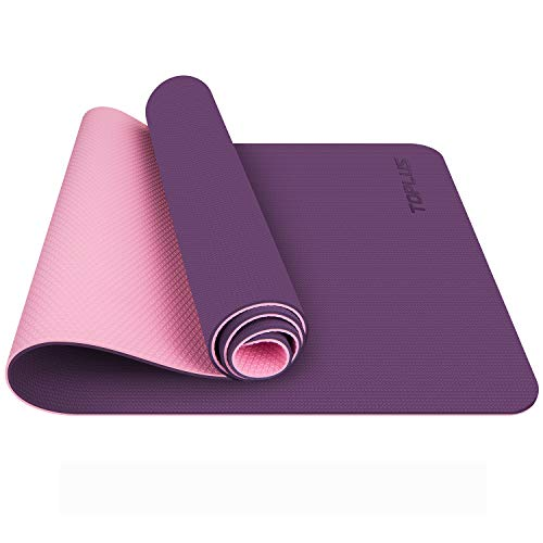 TOPLUS Tappetino da Yoga, Tappetino da Yoga Imbottito e Antiscivolo Fitness Pilates e Ginnastica con Cinturino di TPE,180 x 60 cm (Viola)
