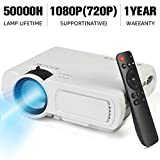 Mini Movie Projector, Home Theater Video Projector Supporting 1080P & 170'' Display, 3600L Brightness with 50,000 Hours LED Lamp Life, Compatible with TV Stick,HDMI,VGA,USB,TV,Laptop,DVD (White)