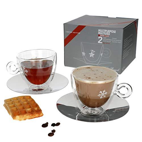 Luigi Bormioli - Set di 4 bicchieri da tè con motivo natalizio, 300 ml, tazza in vetro a doppia parete + sottobicchiere in acciaio inox, bicchiere termico I cappuccino, caffè, cacao e tè; vino brulé