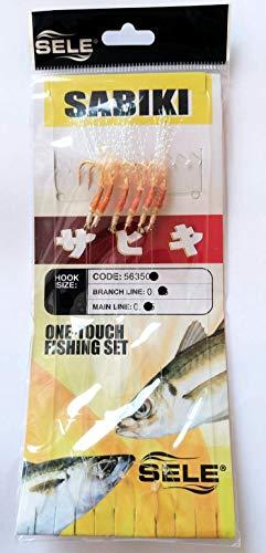 Sele SABIKI Lenza per Pesca dalla Barca 2.15 Metri Lenza Madre 0.45mm e 6 braccioli 0.35mm con ami Numero 2 montati con Piuma e Pelle di Pesce