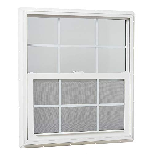Park Ridge Products VSHI3236GPR Park Ridge Vinyl Single Hung Window, Insulated Glass w/Grids, 32' x 36', White