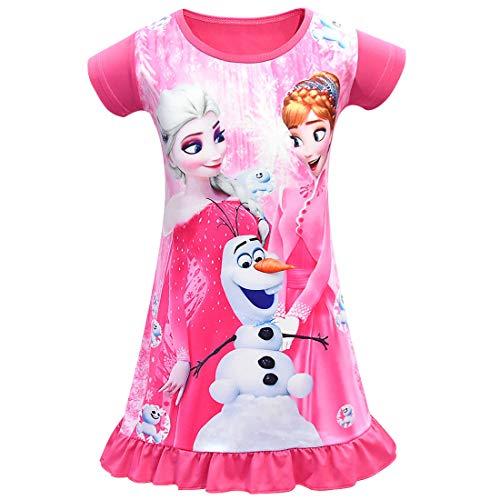 EVENING Little Girls Princess Pajamas Toddler Nightgown Dress Red