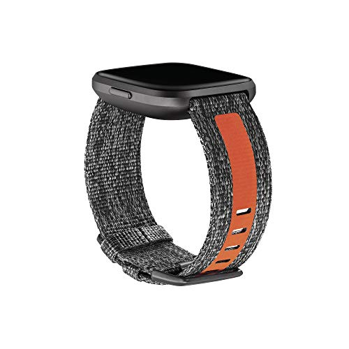 Fitbit Versa Family Accessory Band, Official Fitbit Product, Woven Reflective, Charcoal/Orange, Large