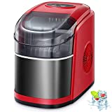 Kismile Countertop Ice Maker Machine,26Lbs/24H Compact Automatic Ice Makers,9 Cubes Ready in 6-8 Minutes,Portable Ice Cube Maker with self-Cleaning Program (Black and Red)