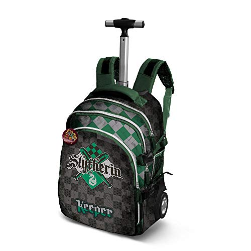 Harry Potter Quidditch Slytherin-Travel Trolley-Rucksack Zaino Casual, 28 liters, Verde
