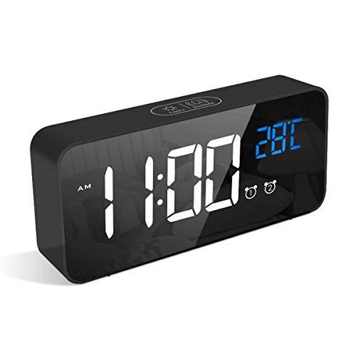 LATEC Digitaler Wecker mit Große LED Temperaturanzeige, Tischuhr mit 13 Musik, USB Ladeanschluss, 4 Helligkeit und Lautstärke Regelbar, Snooze, tragbarer Spiegelalarm mit 2 Alarmen, 12/24HR