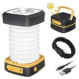 GlobaLink Lampe Lanterne Camping Solaire Pliante Rechargeable 2 en 1 Extérieur Pliante de Poche...