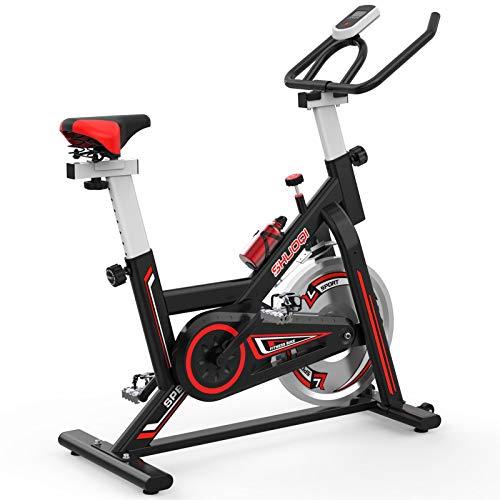 SHUOQI Heimtrainer Fahrrad, Fitnessgeräte Für Zuhause, Indoor Spinning Bikes, 6-Fach Einstellbare Sitzhöhen, Großes Trägheitsschwungrad, Benutzergewicht Bis 100kg, Anfängerfreundlich