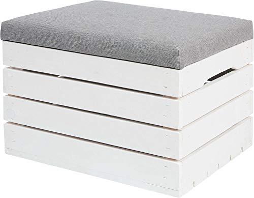 ISO TRADE Sitzbank Sitzhocker aus Holz mit Stauraumbelastbar bis 150 kg Weiß 40x50x35 cm 3636