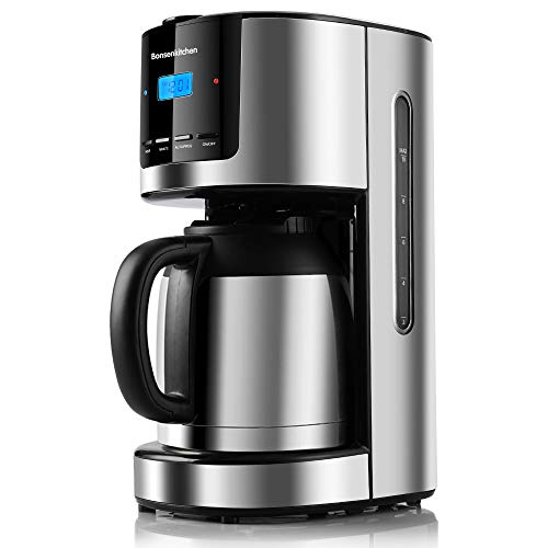 Bonsenkitchen Filterkaffeemaschine mit Thermoskanne und Timer, ProgrammierbareEdelstahl Kaffeemaschine mit Anti-Drip-Funktion, 10-12 Tassen(1.5L), LED-Anzeige, Abnehmbarer Filter