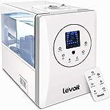 Levoit Ultraschall Luftbefeuchter 6L, 70 m² Humidifier 32dB leise mit Warm/Kalt Dampf 1-12H Timer, Feuchtesensor und Fernbedienung, Dual 360° drehbare Düsen, Aroma Diffusor für Baby Schlafzimmer