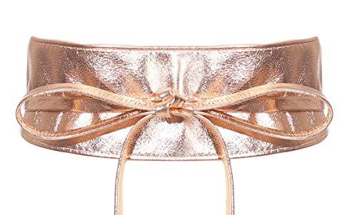 malito Donna Cintura di Pelle Cintura di avvolgere in Vita largo G100 (rose oro)