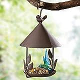 YUOKI99 Vogelhaus zum aufhängen - Vogelhäuschen Metall Futterstation für Vögel ideal für Balkon und Garten Vogelhaus Vogelhäuser Hängende Vogelfutterhaus Vogelhäuschen (Vintage braun)