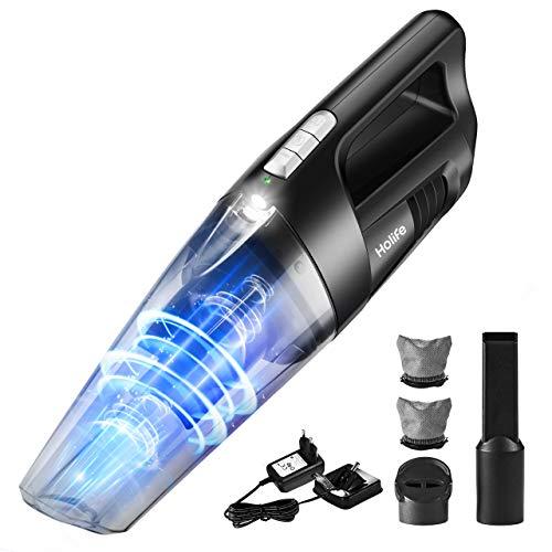 Holife Aspirabriciole Senza Fili, 5000Pa Aspirapolvere Portatile con Luce a LED & Montaggio a Parete...