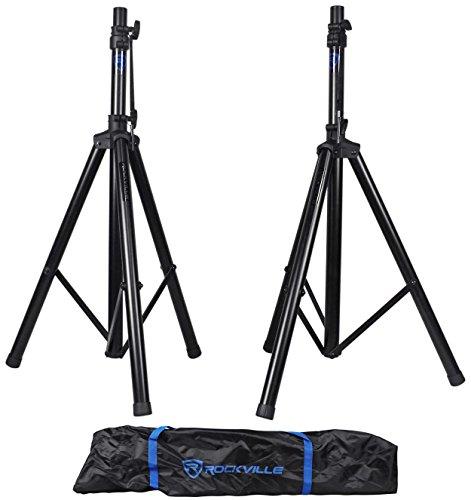 Rockville Pair Adjustable Universal Tripod DJ PA Speaker Stands with Carry Bag