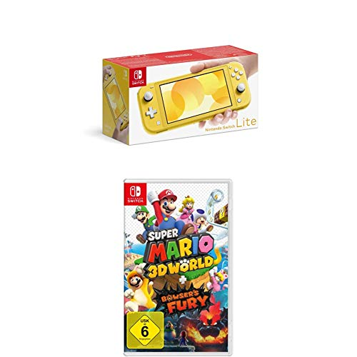 Nintendo Switch Lite, Standard, Gelb + Super Mario 3D World - Bowser's Fury