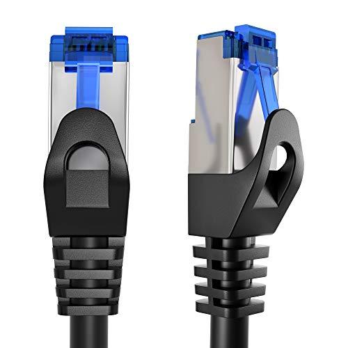 KabelDirekt - 15 m - Ethernet, Patch y Cable de red (conectores RJ45, para la mayor velocidad de transmisión de la fibra óptica, Ideal para Gigabit / LAN, Router / Modem, Switch, Plateado / Negro)
