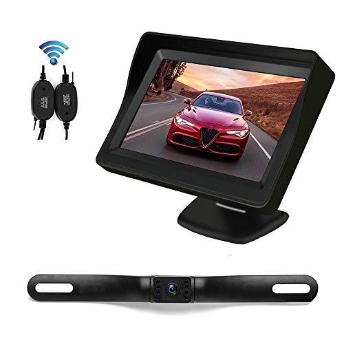 Telecamera Retromarcia Wireless per auto - Galamimo Telecamera Posteriore Park Assist con Impermeabile IP68 Visione Notturna telecamera e Monitor da 4.3 Pollici TFT LCD