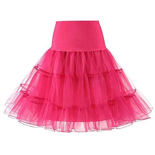 Sottogonne Breve Breganza Organza Halloween Petticoat Crinoline Vintage Bridal Petticoat per Abiti da Sposa Underskirt Rockabilly Rockabilly Tutu (Color : Rose, Size : Large)