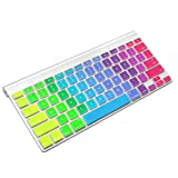 ProElife Ultra Thin Silicone Keyboard Protector Cover Skin for Apple Wireless Keyboard with Bluetooth MC184LL/B (Model: A1314, U.S Layout) (Not Fit iMac Magic Keyboard), Rainbow