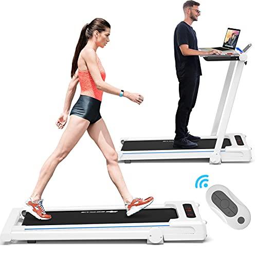 Goplus 3-in-1 Treadmill with Large Desk, 2.25HP Folding Electric Treadmills, LCD Display, Remot…
