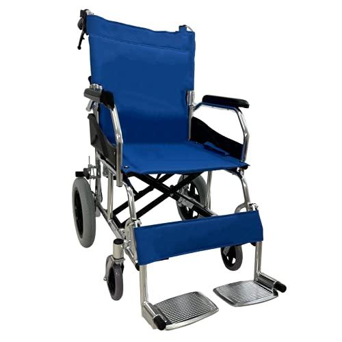 Sedia a Rotelle -CARROZZINA DISABILI leggera e pieghevole in acciaio cromato con freno per transito anziani e disabili -Barre posteriori anti ribaltamento- Funzione leva per gradini