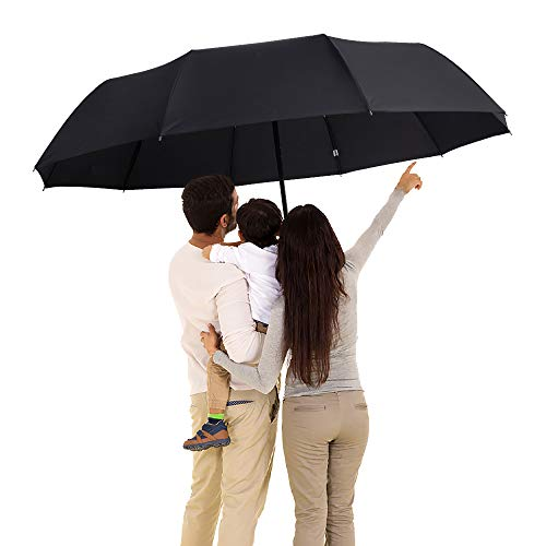 DongSui Golf Umbrella 51' Large Umbrella 10 Ribs Windproof Folding Umbrella with Teflon Coating Automatic Travel Umbrella for Women and Men