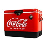 Koolatron Stainless Steel Ice Chest - 85 Can Capacity with Bottle Opener, (54 Quarts/51 Liters) (Coca Cola)