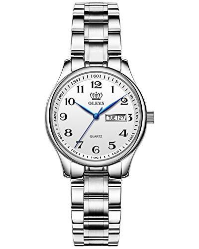 Women Watches Dress Stainless Steel Wrist Watches Easy Reader Analog Digital Faced Watches Waterproof Date Day Analog Quartz Watch 2020 OLEVS Brand