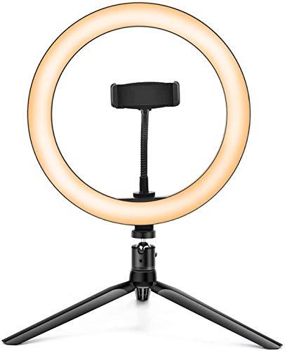 """Kemier Luz de Anillo LED 10"""" fotográfica de Escritorio, 3 Colores 10 Brillos Regulables Control Remoto Bluetooth, Trípode con Soporte Giratorio de teléfono para Selfie, Maquillaje, Youtube, TIK Tok"""
