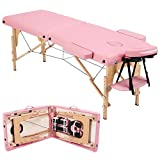 Yaheetech Massage Table Portable Massage Bed Massage Therapy Table Spa Bed 84 Inch Adjustable 2 Fold Salon Bed Face Cradle Bed Pink