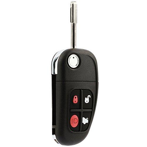 Car Key Fob Keyless Entry Remote Flip fits 2001 2002 2003 2004 2005 2006 2007 2008 Jaguar S-Type, X-Type, XJ8 (NHVWB1U241)