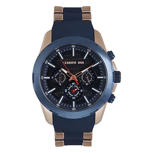 Cerruti CRA27802 Herrenuhr Chronograph multifunktional Silikon blau Stahl blau