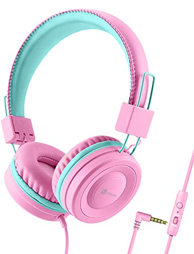 iClever Kids Headphones for Girls - Wired Headphones for Kids with MIC, Adjustable Headband, Foldable, Volume Control - Childrens Headphones on Ear for iPad Tablet Kindle Airplane School, Pink…